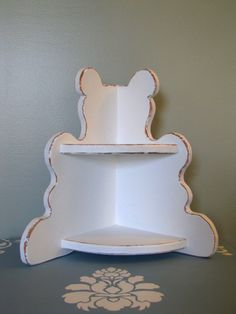 Distressed white Teddy Bear Corner Shelf by LoveFromOhio on Etsy