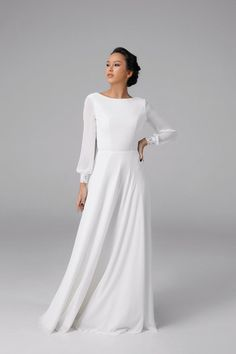 Open back wedding dress Simple long sleeve wedding dress Open Back Wedding Dress, All White Wedding, Long Sleeve Wedding, Plus Size Wedding, Sheath Wedding Gown, Wedding Gowns, Long Wedding Dresses, Wedding Outfits, Ceremony Dresses