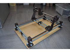 printed laser cutter/engraver by DenGess Cnc Router Plans, Laser Cutter Engraver, Diy Cnc, Cnc Projects, Cnc Machine, Dremel, Arduino, 3d Printer, 3 D