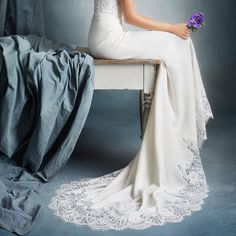 A luxurious, silky smooth train on gowns available at Hannah Elizabeth Bridal #LittleBookforBrides #bridalboutique
