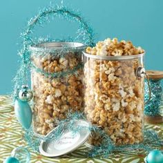 Caramel Corn Food Recipe from Taste of Home, perfect food gift! - submitted by Nancy Breem of Canastota, New York. -- Spruce up a clear food-safe container with colored tinsel!  #Food_Gift