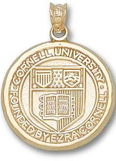 Cornell Big Red Bears Seal 3/4 inch Pendant - 10KT Gold Jewelry