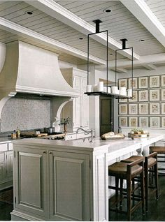 Gray kitchen with art wall and nice ceiling detail