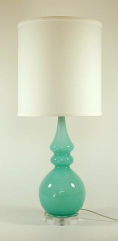 Turquoise Silhouette Glass Lamp with White Linen by LovingLighting, $120.00 by lawanda