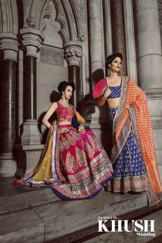 (L) - Pink  Blue bridal lengha with Paisley detailing by Mongas  (R) - Blue  Orange Bridal Lengha with gold embroidery by Mongas  T: +44(0)208 574 4863  E: mongasuk@gmail.com  W: www.mongas.co.uk  As seen in the Autumn 2013 Issue of Khush Wedding Magazine