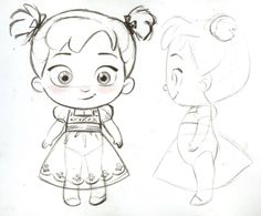 Steve's second Anna and Elsa toddler plush for the Disney Stores. Baby Cartoon Drawing, Cartoon Sketches, Disney Sketches, Cartoon Art Styles, Disney Drawings, Cute Drawings, Art Sketches, Character Drawing, Character Illustration