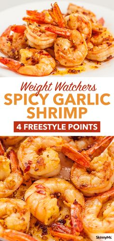 Spicy Garlic Shrimp : If you're looking for an amazing and delicious garlic shrimp recipe, you can't go wrong with one that comes together in less than five minutes and tastes like it came from a fine restaurant. Spicy Garlic Shrimp, Grilled Shrimp Recipes, Shrimp Recipes For Dinner, Seafood Recipes, Healthy Dinner Recipes, Dishes For Dinner, Healthy Tips, Clean Eating Shrimp, Clean Eating Recipes