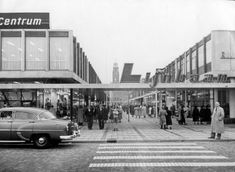 Rotterdam (Nederland) Lijnbaan met winkelende mensen ca. 1955.