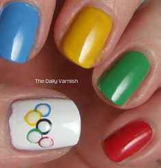 Show your love for the Olympics with this classic nail art design. Paint each nail one of the ring colors and your thumb nail white. Sassy Nails, Cute Nails, Pretty Nails, Hair And Nails, My Nails, Nail Art Designs, Nails First, Nagellack Trends, Mani Pedi