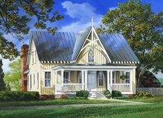 Elevation of Cottage   Country   Farmhouse  House Plan 86295