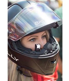 Motorcycle Helmet Of The Future! – The Skully Helmet Features Heads Up Displays And A Rearview Camera! Motorcycle Helmets For Sale, Motorcycle Gear, Motorcycle Girls, Lady Biker, Biker Girl, Triumph Bikes, Motorcycles, Custom Helmets, Motorbike Girl
