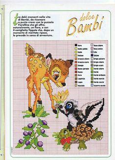 Bambi e la puzzola schema punto croce