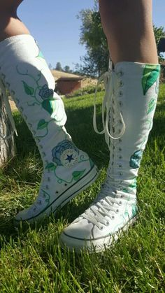 9cf329670c7 More of my newly painted flower pattern white knee high converse aren t  they gorgeous  It s looks so perfect I just love white knee high converse!