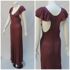 Vintage KRISTINA GORBY Flutter Sleeve Knit Maxi Dress