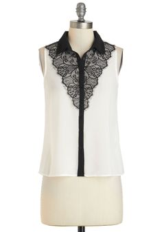 Turn Up the Lace Top - Mid-length, White, Black, Buttons, Lace, Work, Sleeveless, Collared, Daytime Party, Film Noir, French / Victorian, Button Down