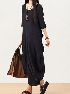 Shop Linen Dresses - Dark Blue Half Sleeve Linen Crew Neck LINEN DRESS online. Discover unique designers fashion at StyleWe.com.