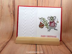 Stampin' Up! CAS Christmas card made with Merry Mice stamp set and designed by Demo Pamela Sadler. See more cards at stampinkrose.com #stampinkpinkrose