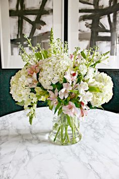 Flower Arranging Made Easy - hydrangea, snapdragon, alstromeria, and a bit of spray stock.