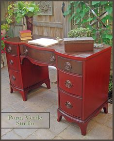 I would usually refinish a piece like this but the piece was badly damaged so I opted to paint and stain what wood I could salvage. It is painted in oil paint a… Dark Wood Furniture, Repurposed Furniture, Painted Furniture, Painted Wood, Painted Desks, Furniture Making, Diy Furniture, Refurbished Desk, Red Desk