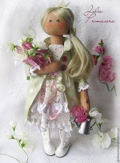 Купить SWEET PEA (текстильная кукла) - салатовый, коллекционная кукла, авторская кукла, текстильная кукла ♡