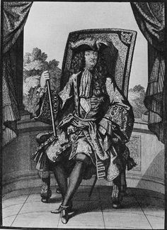 Louis XIV at the Age of 61, 1699. Note the very wide pagoda sleeves, and it is clearly seen that the waistcoat is unbuttoned 5-6 buttons at the bottom. Often the buttonholes at the bottom hem of the waistcoat were false. French