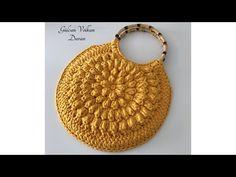 Crochet Knitting Flower Bag Recipe – Part 1 - Bag Desing Knitting Videos, Crochet Videos, Crochet Handbags, Crochet Purses, Crochet Designs, Crochet Patterns, Crochet Bag Tutorials, Crochet Patron, Flower Bag