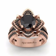 A Museum 14K Rose Gold Floral 3.42CT Black Moissanite Round Cut Ring.