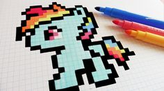 Handmade Pixel Art - How To Draw Little Pony - Rainbow Dash #pixelart