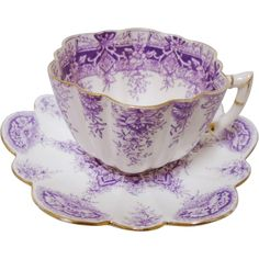 Tea Lovers Paradise! -- Wileman Antique mauve Paradise Print tea cup and saucer -- found at www.rubylane.com #vintagebeginshere