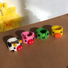 Fimo Ring, Polymer Clay Ring, Diy Clay Rings, Crea Fimo, Clay Art Projects, Cute Clay, Bijoux Diy, Sculpture Clay, Cute Crafts