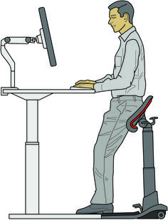 The LeanRite Elite by Ergo Impact for great posture. Standing Desk Chair, Chair Design