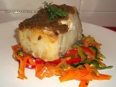 Cinco sentidos na cozinha: Lombos de bacalhau no forno com crosta de paté de azeitonas e legumes salteados