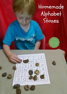 homemade alphabet stones- great hands-on activity to learn letter recognition, alphabetical order, and how to spell your name. Quick and easy to make for classroom or homeschool.