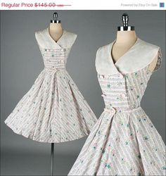 15 SHOP SALE Vintage 1950s Dress . Floral by millstreetvintage, $123.25