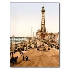 Shop Antique Blackpool British Seaside Postcard created by Britishness. Personalise it with photos & text or purchase as is! Seaside Village, Seaside Towns, Blackpool Rock, Seaside Pictures, Paris Torre Eiffel, Time In England, Blackpool England, British Seaside, Irish Sea