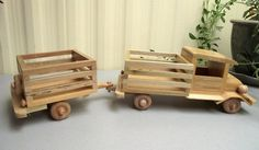 "Reclaimed Wood ""very tuff"" FARM Truck and trailer. Eco-friendly Wooden Toy Car for Children Organic Natural Unpainted No metal by Aros Woodcrafts"