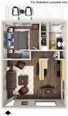 New Apartment Studio Layout Floor Plans Spaces Ideas Small Apartment Plans, Studio Apartment Floor Plans, Studio Apartment Layout, Apartment Design, Small Apartments, Sims House Plans, Small House Plans, House Floor Plans, Loft Floor Plans