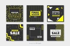 Modern sales banner for social media Free Vector Banner Social Media, Social Media Template, Social Media Design, Free Banner, Banner Template, Banner Vector, Price Tag Design, Magazine Ideas, Prospectus
