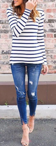 #cute #outfits Striped Sweater // Ripped Skinny Jeans // Nude Sandals