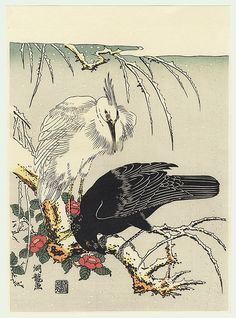 Crow and Heron in Snow. Japanese symbols of bad luck and innocence and bad luck respectively. Koryusai (1735 - 1790) Japanese Woodblock Reprint