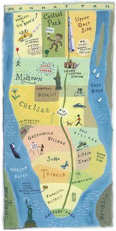 Manhattan map illustration ~ John S. New York City Map, City Maps, Ny Map, Okinawa Japan, Travel Maps, Travel Posters, Manhattan Map, Chelsea Manhattan, Lower Manhattan