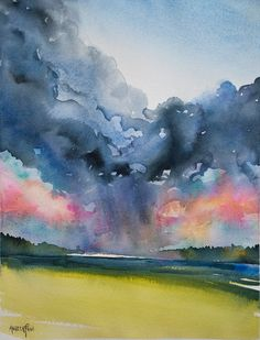 Great video on painting dramatic skies by watercolor teacher Angela Fehr Watercolor Clouds, Watercolor Video, Watercolor Projects, Watercolour Tutorials, Watercolor Techniques, Watercolor Landscape, Abstract Watercolor, Art Techniques, Painting Tutorials