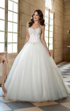 Prachtige strapless prinsessen trouwjurk van tule met kant