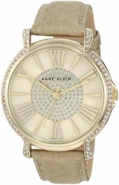 Anne Klein Women's AK/1068CMGD Accented Gold Tone Cream Snake Print Leather Strap Watch