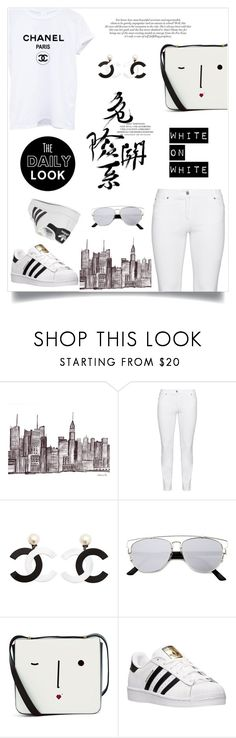 """White on White ~ Wardrobe Staple: White T-Shirt"" by alexandrazeres ❤ liked on Polyvore featuring Steilmann, Chanel, Lulu Guinness, adidas, adidas Originals, WardrobeStaple, white and Tshirt"