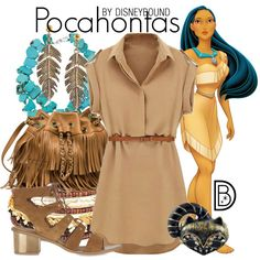 Pocahontas by leslieakay on Polyvore featuring Topshop, Panacea, Steve Madden, Disney, disney, disneybound and disneycharacter
