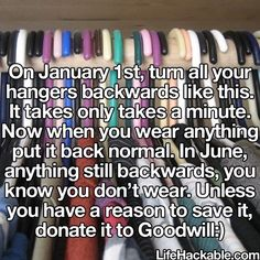Try this hack to get rid of clothes just wasting space. Such a good idea!