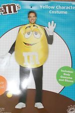 NEW Adult Mens Womens OSFM M&M CANDY M & M Character Halloween Costume YELLOW