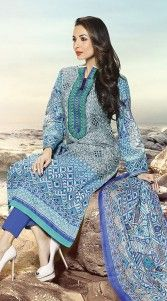 Give in to the exotic look like Malaika Arora Khan wearing this stunning light blue pure cotton bollywood salwar kameez which is adorned which exclusive designer printed work all over and resham embroidery work on the neck line. This attire comes with matching bottom and dupatta. This Salwar Kameez can be stitched in the maximum bust size of 44 inches...