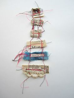"""Stitch therapy: """"memory threads"""" - """"collect your memories carefully; fold them up and bind them together with a strong thread; lest we forget the fragile beauty; hidden in today's moment"""""""